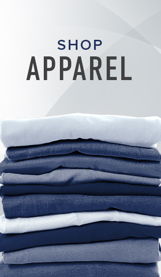 Picture of stacked tee shirts. Click to shop Apparel.