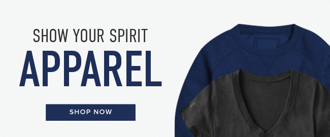 Picture of shirts. Show Your Spirit: Apparel. Click to shop now.